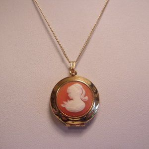 "Gold Tone Orange White Cameo Locket Necklace 16"" L"